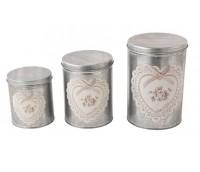 """Tin store box set """"Heart"""", 3 pcs"""