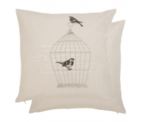 """Cusion Cover """"Birds and Cage"""""""