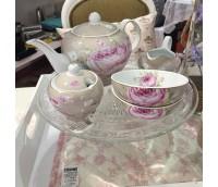 """Teekann või Kohvikann ühele tassi- ja alustassiga, seeria """"Roos Pariisist"""""""