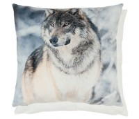 "Cushion Cover ""Wolf in winter forest"""