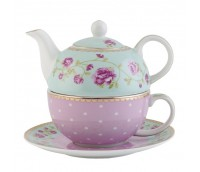 "Tea or coffee for one with cup and saucer, range ""Dots&Roses"""